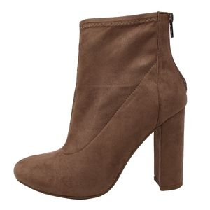 Taupe Faux Suede High Top Block Heel Ankle Boot